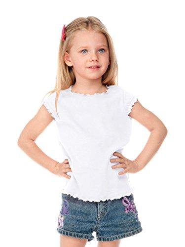 Kavio Little Girls 3-6X Lettuce Edge Scoop Neck Cap Sleeve Top White 5/6 - Edge T-shirt