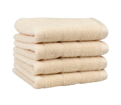Luxury Washcloth 4-Pack, Made in the USA with 100% Cotton from Africa - Made Here by 1888 Mills, Ivory