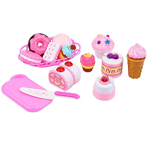 - Kanzd Dessert Cake Food Toy Pretend Play Food Ice Cream Birthday Cake Set Toy (B)