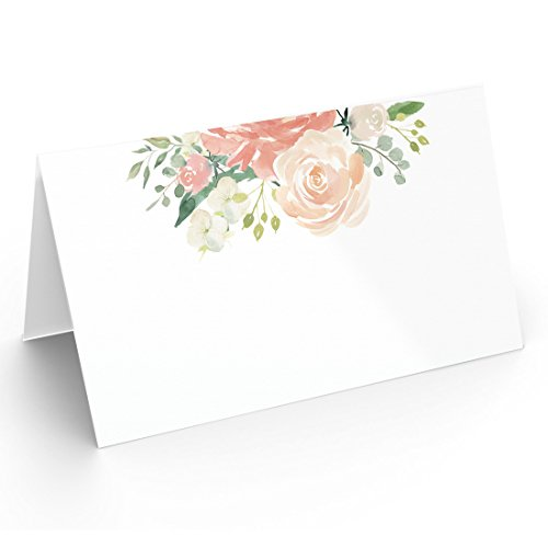 (25 Table Place Cards, Elegant Floral Style, Perfect for Weddings, Holidays, Dinner Parties, Birthdays, Buffets and Catering)