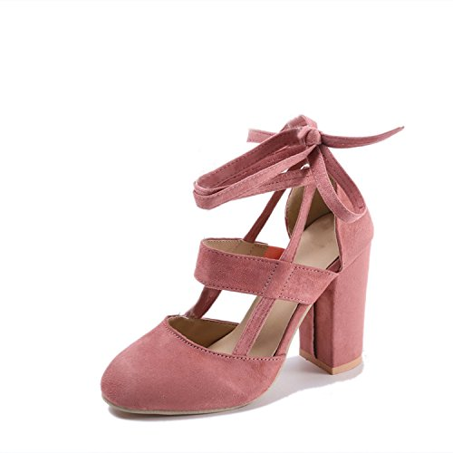 The small cat Plus Size Female Ankle Strap High Heels Thick Heel Fashion Women Party Wedding Pumps,Pink,5 ()