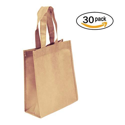 (30-Pack Non-woven Reusable Tote Bags, Heavy Duty Non-woven Polypropylene, Small Gift Tote Bag, Book Bag, Non Woven Bag Multipurpose Art Craft Screen Print School Bag (Khaki, Set of 30))