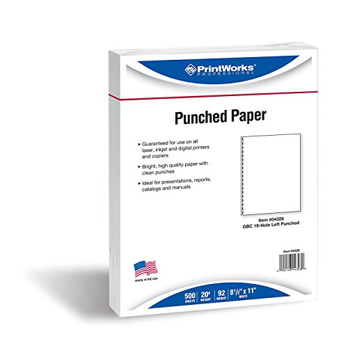 PrintWorks Professional Prepunched Paper, 8.5 x 11, 20 lb, GBC CombBind 19-Hole Punched Report & Presentation Paper, 500 Sheets, White (04328)