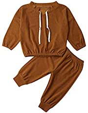 Kid Little Girl Solid Color Long Sleeve Top with Legging Pants Outfit Set Pajamas 1-5 Years