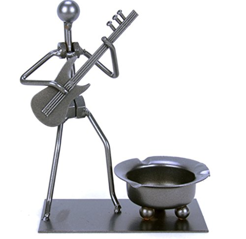 Winterworm Vintage Fashion Creative Unique Metal Iron Nuts And Bolts Musician Band Cigarette Ashtray Player Figurine Art Desk Decor Father's Day Gifts C54(Electric guitar) by Winterworm