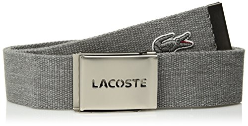 Lacoste Men's Textile Signature Tonal Croc Logo Belt, Mottled Clear/Gray, - Men Clear Logo