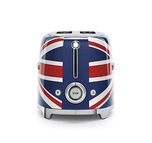 Smeg TSF01UJUS 50's Retro Style Toaster Bundle with Norpro Bamboo Tongs - (Union Jack) 2 Slice