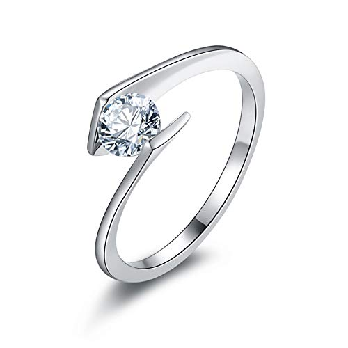 Erllo 0.5ct 5mm Round Solitaire Brilliant Cubic Zirconia CZ Sterling Silver 925 Wedding Engagement Ring Sizes 4 to ()