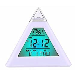 Decor Bedroom M and F Pyramid Mini 7 Colors Change Digital alarm clock snooze led light clock talking Electronic Table Watch Nixie Bedside clock kids