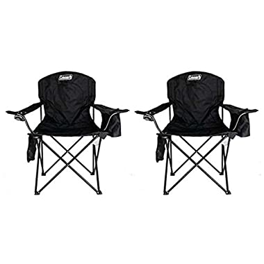 2-Pack Coleman Cooler Quad Chairs With Built-In Cooler, Black