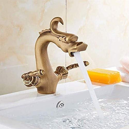アンティーク真鍮浴室動物ドラゴン蛇口ダブルクロスハンドルバニティシンク蛇口デッキインストールホットとコールドミキサー調節可能なホットとコールド