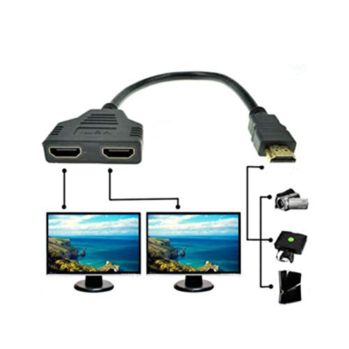 Liobaba 1080P High Definition Multimedia Interface Port Cable Adapter 1 in 2 Out Splitter Cable Adapter Converter