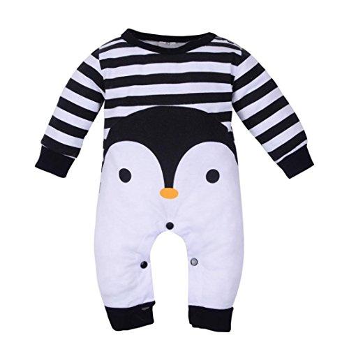 Furniture Adorable (Kollmert Unisex Baby Penguin Stripe Jumpsuit Long Sleeve Warm Romper Pajamas Outfits (Black, 3M))