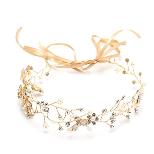 Hukai Handmade Bridal Hair Tiara Head Piece Women Girls Rhinestone Pageant Crown  Gold