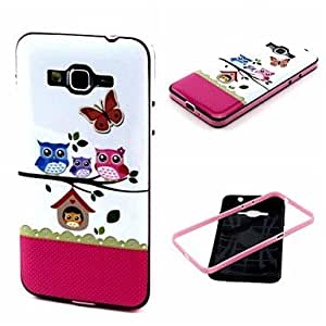 qyf 20150511 2-in-1 Cute Owl Family Pattern TPU Back Cover with PC Bumper Shockproof Soft Case for Samsung Grand Prime G530 G530H