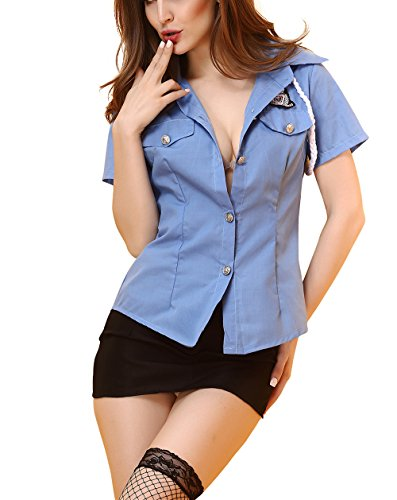 Women's Officer Costume Sexy Policewoman Cop Uniform (M, Photo color)
