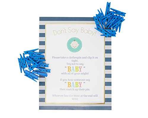 Baby Shower Clothespin Game for Guests to Wear Blue Boy with Mini Clothespins Party Favors For 30 Players (Blue- Boy) ()