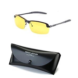 Red Peony Night Vision Sunglasses, Yellow Night Vision Square Rimless Anti Glare Polarized Sunglasses Safe Night Vision AORON Design