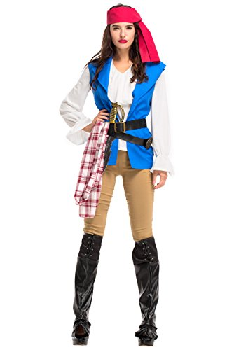NewDong Women's High Seas Pirate Captain Wench Costume Adult Large ()