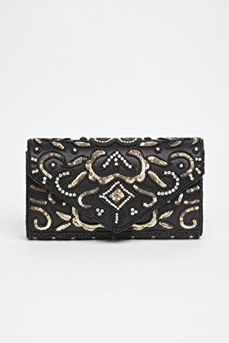 Elsa Gold Embellished Bag Hand in Clutch Black fWfTP7Brq