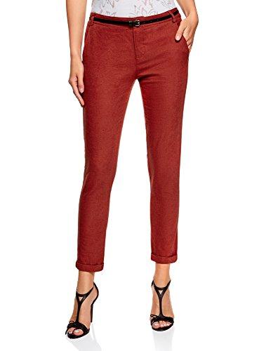 oodji Ultra Mujer Pantalones Ajustados con Cinturón Rojo (4900N)