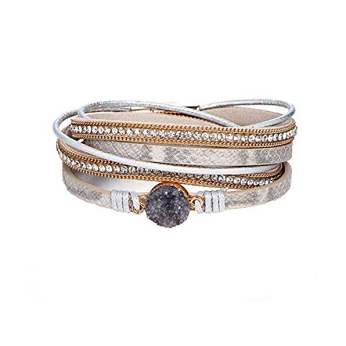 Multi Layer Leather Bracelet Braided Wrap Cuff Bangle Alloy Magnetic Clasp Handmade Jewelry for Women Girl