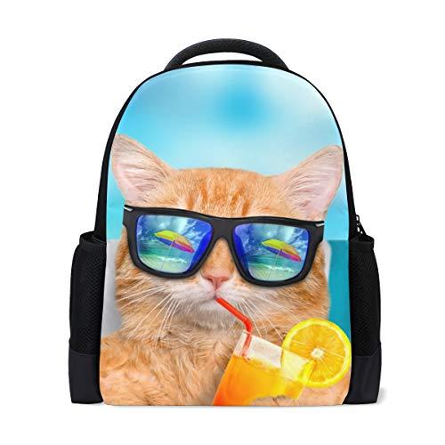 Cat Sunglasses Sea Print Laptop Backpack High School Bookbag Casual Travel Daypack