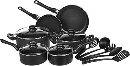 AmazonBasics 15-Piece Non-Stick Kitchen Cookware Set – Pots, Pans and Utensils (Renewed)
