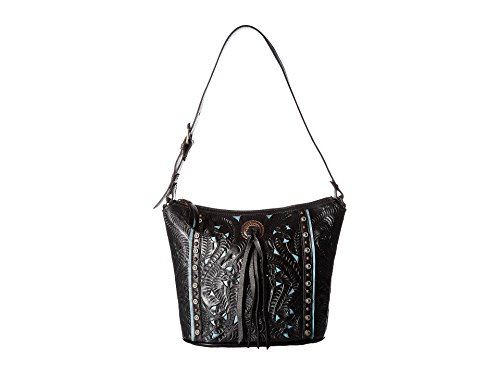 American West Hill Country Zip Top Bucket Tote Hand Tooled Genuine Leather - Black/Turquoise ()