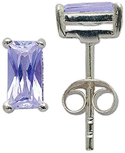 Amethyst Emerald Earrings - Silver earrings emerald cut synthetic CZ crystal Light amethyst
