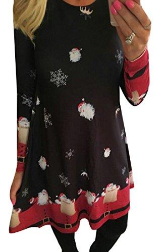 Da Vestito Natale Stampa Donne Manica 1 Di Delle Modo Di Jaycargogo Lunga AHgqTW