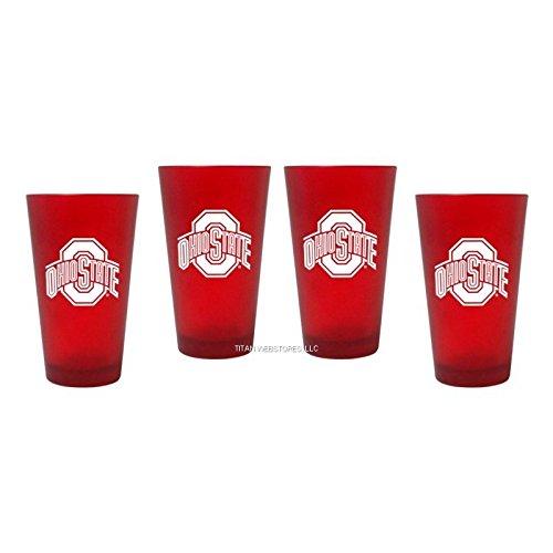 NCAA Ohio State Color Frost Pint Glasses | OSU Buckeyes Satin Beer Pints - Set of 4