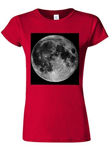 反響するプラットフォームドットFull Moon Picture Funny Novelty Cherry Red Women T Shirt Top-XL