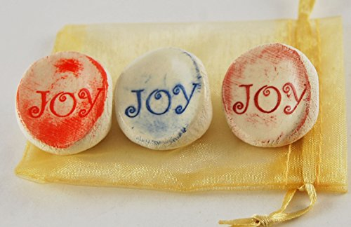 Ceramic Joy (Joy Ceramic Word Stone - Set of 3 with Organza Bag)