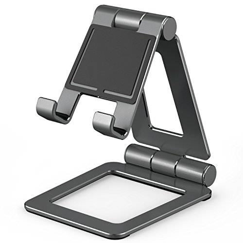 Adjustable Tablet Stand,Slim & Lightweight Universal Dual Foldable Multi Angle Aluminum Stand Mount Holder for Nintendo Switch,iPad pro, Samsung, Nexus,iPhone and Other Tablets (4-12 inch) -Space Gray