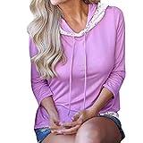 Women's Lace Trimmed Hoodie Casual Long Sleeve Lightweight Pullover Hoody Sweatshirt (Purple, L)