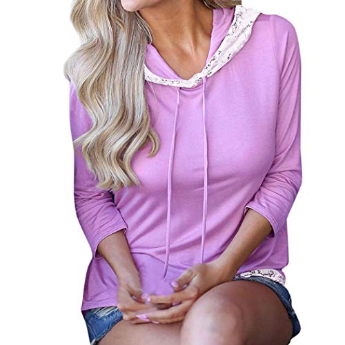 Trimmed Crop (Women's Lace Trimmed Hoodie Casual Long Sleeve Lightweight Pullover Hoody Sweatshirt (Purple, L))
