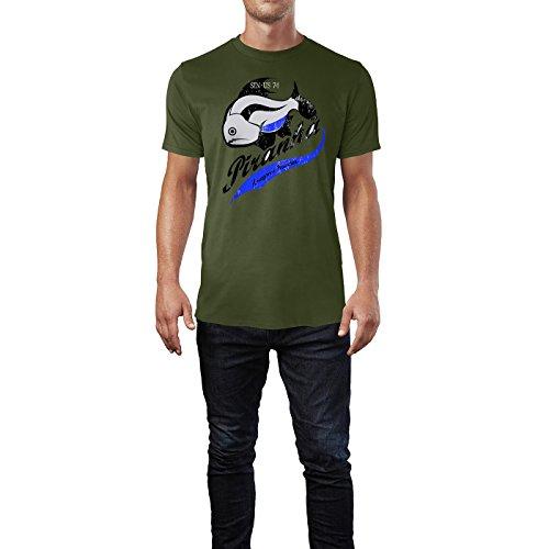 SINUS ART ® Grunge Print Piranha – Amazon`s Hunter Herren T-Shirts in Armee Grün Fun Shirt mit tollen Aufdruck