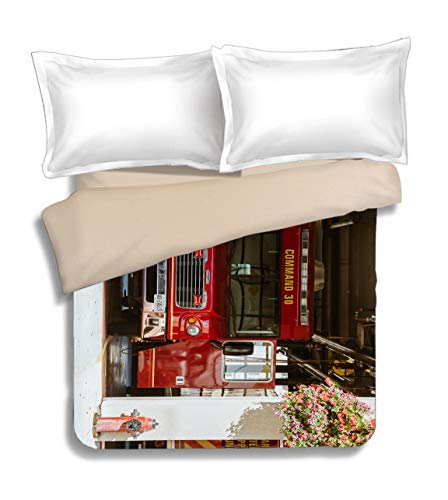 ck at fire Station Quilt Cover Bedding Duvet Cover,100% Cotton 86.6