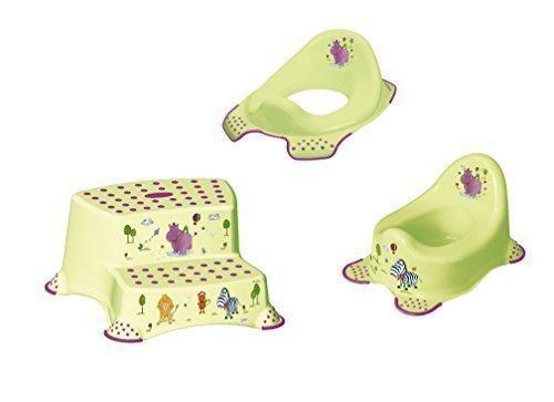 3er Set Z Hippo verde WÁTER Accesorio + Orinal de niño + Dos Etapas Esfínteres Taburete OKT Kids