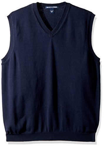 (Devon & Jones mens V-Neck Vest(D477)-NAVY-M)