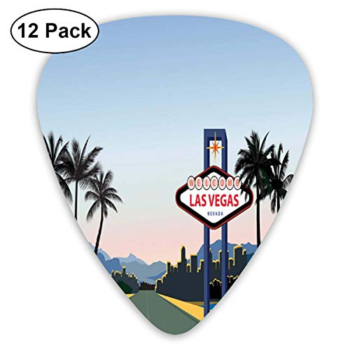 Celluloid Guitar Picks - 12 Pack,Abstract Art Colorful Designs,Silhouette Of The City With A Welcome Sign Nevada State America In Cartoon Design,For Bass Electric & Acoustic Guitars. Art Silhouette Welcome Sign