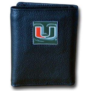 NCAA Miami Hurricanes Leather Tri-Fold Wallet - Miami College Leather