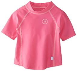 i play. Baby Short Sleeve Rashguard Shirt, Hot Pink, 18 Months