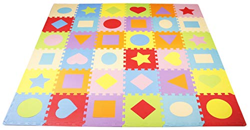 Play Shapes - BalanceFrom Kid's Puzzle Exercise Play Mat with EVA Foam Interlocking Tiles