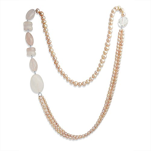 (Bling Jewelry Asymmetrical Long Pink Cultured Pearl Rose Quartz Multi Strand Necklace for Women)