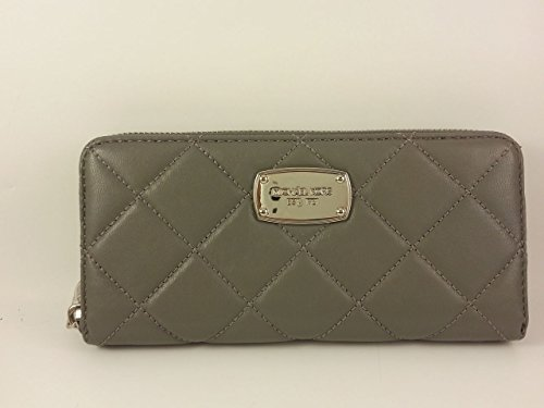 Michael Kors Hamilton Quilt Soft Genuine Leather Zip Around Wallet (Steel Grey) (Signature Quilt Zip Apparel)