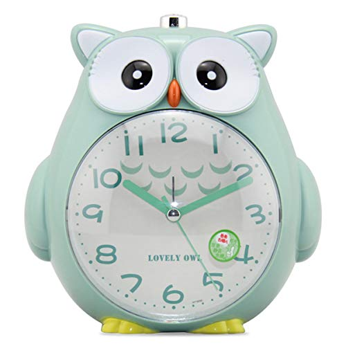 Hosim Cartoon Cute Kids Alarm Clock Battery Operated Creative Owl-Shaped Silent Night Light Clock for School Student Children - Shaped Clock Owl