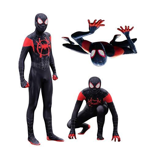 MYanimec Unisex Lycra Spandex Zentai Halloween New into The Spider Verse Miles Morales Cosplay Costumes Adult/Kids 3D Style