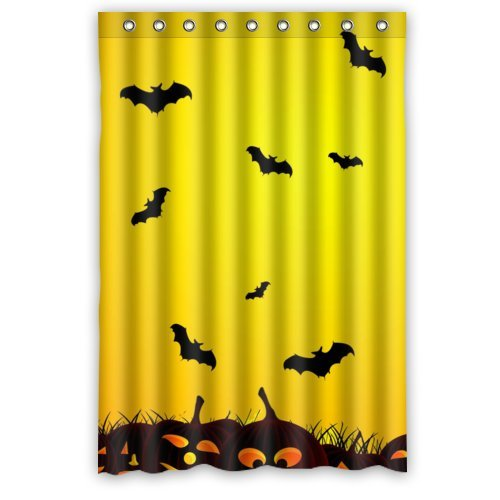 48''(W) x 72''(H) 100% Polyester Halloween Pumpkin Lamp And Bat Waterproof Bath Curtain by Halloween shower Curtain